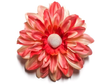 Ivory Clamshell Peach Dahlia Pinup Rockabilly Hair Flower Clip