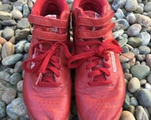 7.5 80's Classic Leather Reebok FREESTYLE High Top Red Sneakers