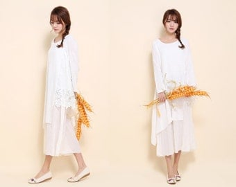 Asymmetrical Lace-hemmed Dress with Long Sleeve /Asian Style Two Layered Linen Long Dress/ 3 Colors/ RAMIES