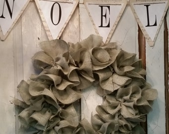 Burlap Rag Wreath, Tattered, Ruffled, Shabby