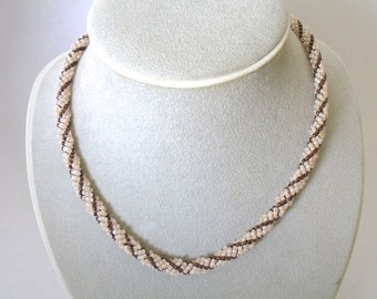 Cream bronze seed bead necklace bead jewelry woven necklace