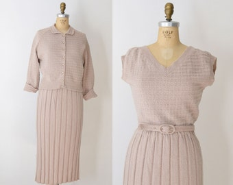 1950s Wool Sweater Dress & Cardigan / 50s Beige Knit Set