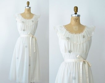 1960s Nightgown / 60s Nylon Chiffon Nightgown