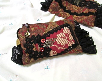 Black Burgundy Clutch, bohemian makeup bag, coin purse, Jacquard tapestry fabric, brass filagree finding black lace embellished