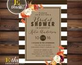 Fall Bridal Shower Invitations - Modern Rustic Wedding Shower Invitation - Fall Flowers, Stripes, Kraft Paper - Fall Shower Invite #1020