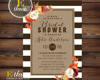 Fall Bridal Shower Invitations - Modern Rustic Wedding Shower Invitation - Fall Flowers, Stripes, Kraft Paper - Fall Shower Invite #1020