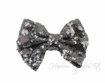 Charcoal Large Sequin Bows 4 inch Bows - Bow Applique, Sequin Bow, Large Bows, Big Bows, Wholesale Bows, Sequin Bow Tie, Sequin Bow Headband