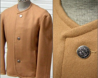 """Vintage 60s Mens Jacket Camel Wool WHITE STAG Fab 4 Beatles meets Austin Powers Size Small - Chest 44"""""""