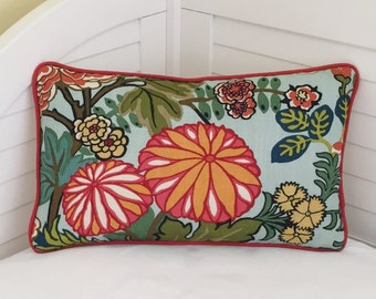Schumacher Chiang Mai Dragon in Aquamarine  (Floral Feature) Designer Pillow Cover with Orange Piping