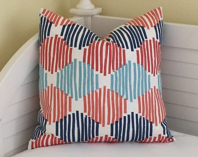 Duralee Cells in Multi (Navy, Turquoise, Aqua and Rusty Orange)  Designer Pillow Cover - Square, Lumbar, Euro Sizes and Body Pillow Cover