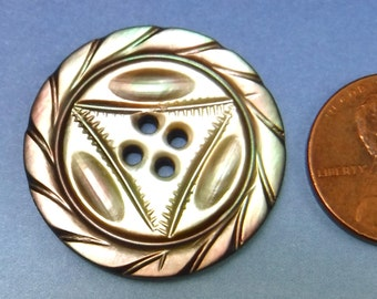 """Carved Pearl Button Mother Of Pearl 1"""" Large Victorian Antique Black Pearl 86"""