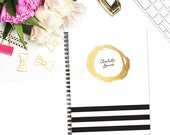 Personalized Notebook - Gold Brushstroke Circle and Stripes - Custom Stationery Monogram Journal