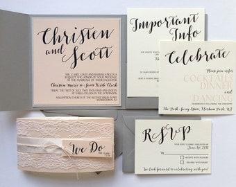 Lace Wedding Invitation, Wedding Invitation, Modern Wedding Invitation, Script Wedding Invitation, Blush Pink and Gray Invitation