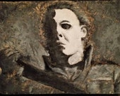 Michael Myers, carved relief sculpture, horror wall art, painted wood carving