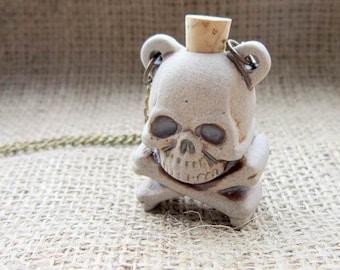 Skull & crossbones ceramic bottle bronze necklace - ampulla ampullae goth pirate Halloween