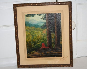 Oil Painting Landscape Western View Trees Mountains Bench w Figure Clover Frame