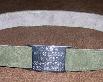 Leather Custom Tag Collar for Greyhounds - Moss Green Suede