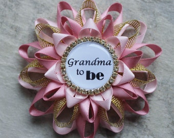 Pink and Gold Baby Shower Decorations, New Grandma Gift, Grandma to Be Pin, Mommy to Be Corsage, Daddy to Be Pin, Baby Girl Shower Corsages