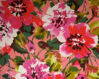 Salmon Pink and Red with Green Floral Print Stretch Cotton Sateen Fabric--By the Yard