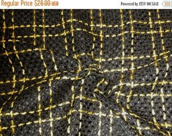 ON SALE Jet Black with Bright Yellow Windowpane Plaid Pure Wool Boucle Fabric--One Yard