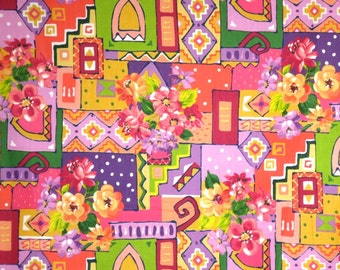 SPECIAL--Pink and Purple Cheerful Collage Floral Print Pure Cotton Fabric--One Yard