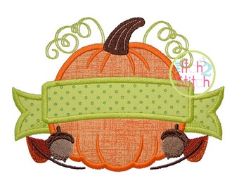 Pumpkin Banner Applique Design For Machine Embroidery, Font NOT Included, INSTANT DOWNLOAD available