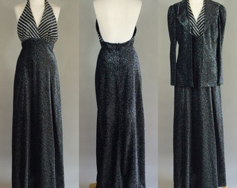70s Disco Dress with Matching Jacket / 1970s Shimmery Maxi Dress and Jacket / 1970s Mindy Malone Dress / Vintage 70s Halter Dress / Dress