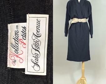 80s Saks Knit Dress with Tan Leather Cinch Belt / 1980s Saks Fifth Avenue Dress / Vintage 80s Charcoal Knit Dress by Kollection Petites