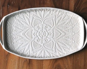 White Lace - Ceramic Appetizer Platter - Serving Tray