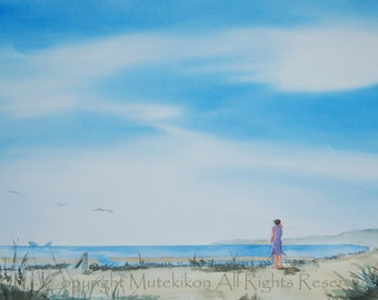 Cape Cod Afternoon, Beach Scene, Seashore, Cape Cod Bay, Woman at Seashore, Afternoon at the Beach, Original WC Paintings, Giclée Prints