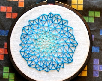 "A Study in Blues - Geometric Triangle Zen Stitching - Mini 3"" Hand Embroidery"