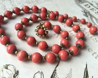 Vintage Signed Mariam Haskell Necklace, Orange, Elegant Estate Jewelry