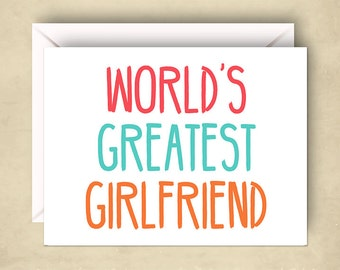 Cute Love Card, World's Greatest Girlfriend Card, 5.5 x 4.25 Inch (A2), Cards for Girlfriend, Cards for Her, Cute Valentine Card