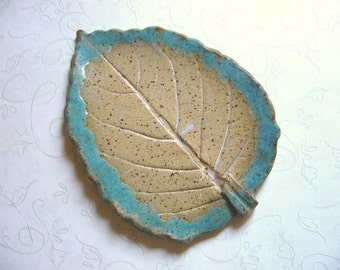 Aqua Birch Beige Pottery Leaf Spoon Rest - Not So Perfect