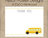 School Bus, Wheels On The Bus Birthday Party Invitation  Thank You Notecard -Printed Flat 4.25x5.5 with envelopes - You pick colors