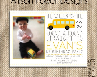 School Bus, Wheels On The Bus Birthday Party Photo Invitation - Print your own