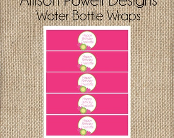 Yoga Birthday Party Invitation - Print your own -Girls Custom Invitation Bright Colors Birthday Party Water Bottle Wrappers