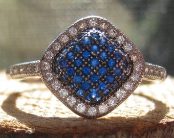 Beautiful Dome Vintage Sterling Silver Women's Ladies Ring with Sapphires and Cubic Zirconium Crystals Size 8