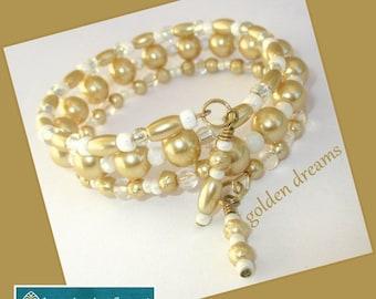 Gold Pearl Wrap Bracelet, Her Gold Bracelet, Gold White Bracelet, Her Wrap Bracelet, Wedding Bracelet, Bride Bracelet, Gold Prom Bracelet
