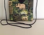 "Elephants Quilted Snap Bag Purse Handbag Handmade 7"" x 7-1/4"""