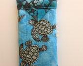 "Sea Turtles Snap Eyeglasses Case Handmade 3-1/2"" X 7"""