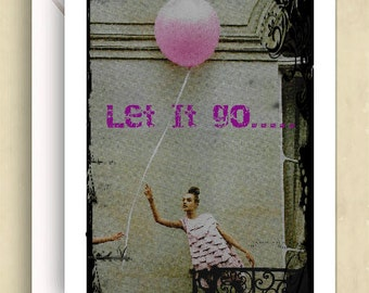 Alcoholics Anonymous AA Birthday Card Let It Go Let God Anniversary Card 12 Steps Recovery Card 5 x 8 Blank Card