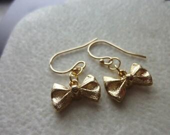 40% OFF SALE! - Petite Ribbon 14K Gold Filled Drop Earrings