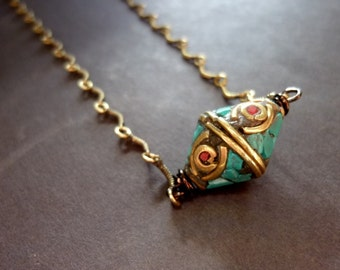 40% OFF SALE! - Unique Brass Beads Inlaid with turquoise and Coral Antiqued Brass Scalloped Chain Necklace