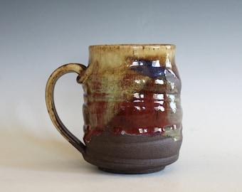 Coffee Mug, 16 oz, handthrown ceramic mug, stoneware pottery mug, unique coffee mug
