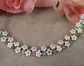 SALE Daisy Chain Necklace, Choker Style Necklace, Pastel Rhinestones, White Flower Petals, Feminine, Mother's Day