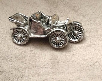 Gerry's Classic Car Brooch, Silver, Vintage, Old Car, Marked