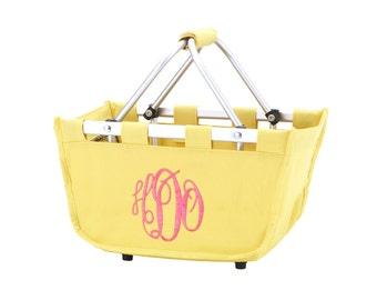 SHIPS NEXT DAY--- Monogrammed Reusable Mini Market Tote Basket Yellow --The Perfect Easter Basket--Free Monogramming--