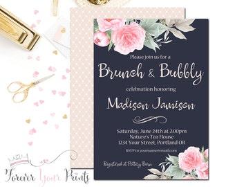 Brunch and Bubbly Bridal Shower Invitation - Floral Bridal Shower Invite - Wedding Shower Invite - Luncheon - Modern Bridal Shower - Printed