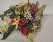Spring Silk Floral Basket with rabbit Happy Spring one of a kind basket